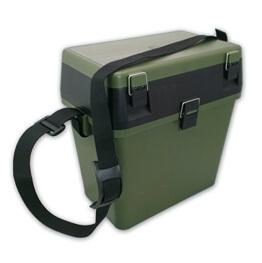 Sitzkiepe Angelbox Angelkasten Sitzkiepe Kunststoff grün 36 x 28 x 24 cm